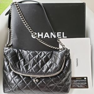 CHANEL Quilted Calfskin Leather Kisslock Fold Bag